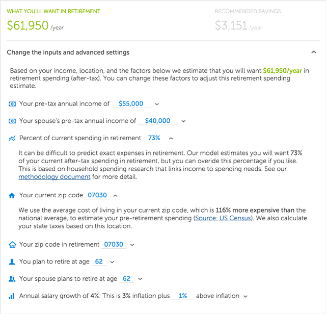 Betterment Review - Retirement Spending Assumptions